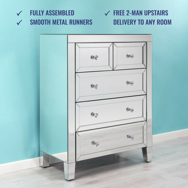 Mirrored Chest of Drawers 3+2 Crystal Handles-  Free 2 man upstairs Delivery