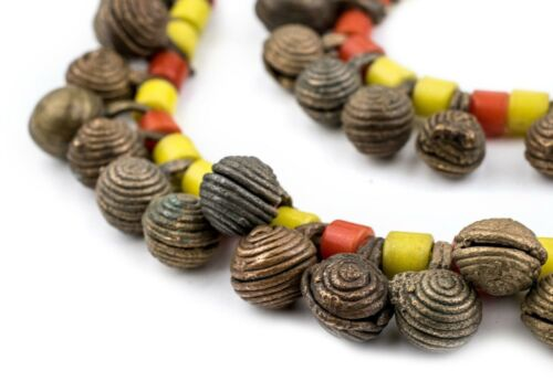 Old Yoruba Brass Bell Necklace 11mm Nigeria African Multicolor Unusual Handmade