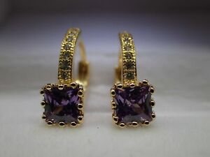 18k-Yellow-gold-Solid-Created-diamond-Princess-Amethyst-Hoop-Huggie-Earrings