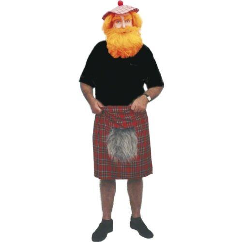Scottish Red Tartan Kilt Sporran Mens Adults Fancy Dress Costume Accessory