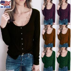 Women-Long-Sleeve-Scoop-Neck-Button-Tops-Casual-Slim-Basic-T-Shirt-Jumper-Blouse