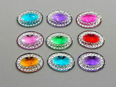 100 Mixed Color Acrylic Flatback Oval Rhinestone Gems 14X10mm Rivoli Center