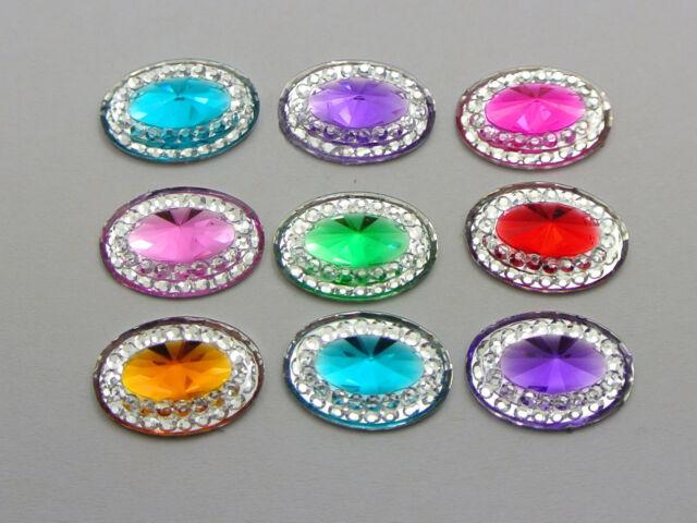 100 Mixed Color Acrylic Flatback Oval Rhinestone Gems 14X10mm Rivoli Center