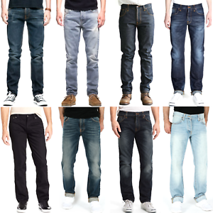 Nudie-Herren-Regular-Straight-Fit-Jeans-Hose-B-Ware-Neu-Blau-Schwarz