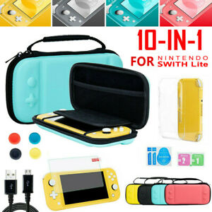 For Nintendo Switch Lite Carrying Case Bag+Cover Shell+Tempered Glass Protector