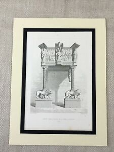 1857-Antique-Print-Architecture-Lion-Eagle-Statues-Cathedral-Pistoia-Italy