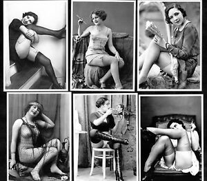 Naughty-French-Ladies-In-1920s-Postcard-Set-1-Pin-Up-Girl-Nylon-Stockings-Sexy