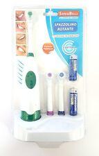 Spazzolino Da Denti Elettrico Rotante 3 Testine Colorate Ricambio Pulizia Denti