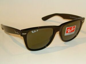 New RAY BAN Sunglasses Black WAYFARER Glass Polarized RB 2140 901 58 ... 7575684dc3