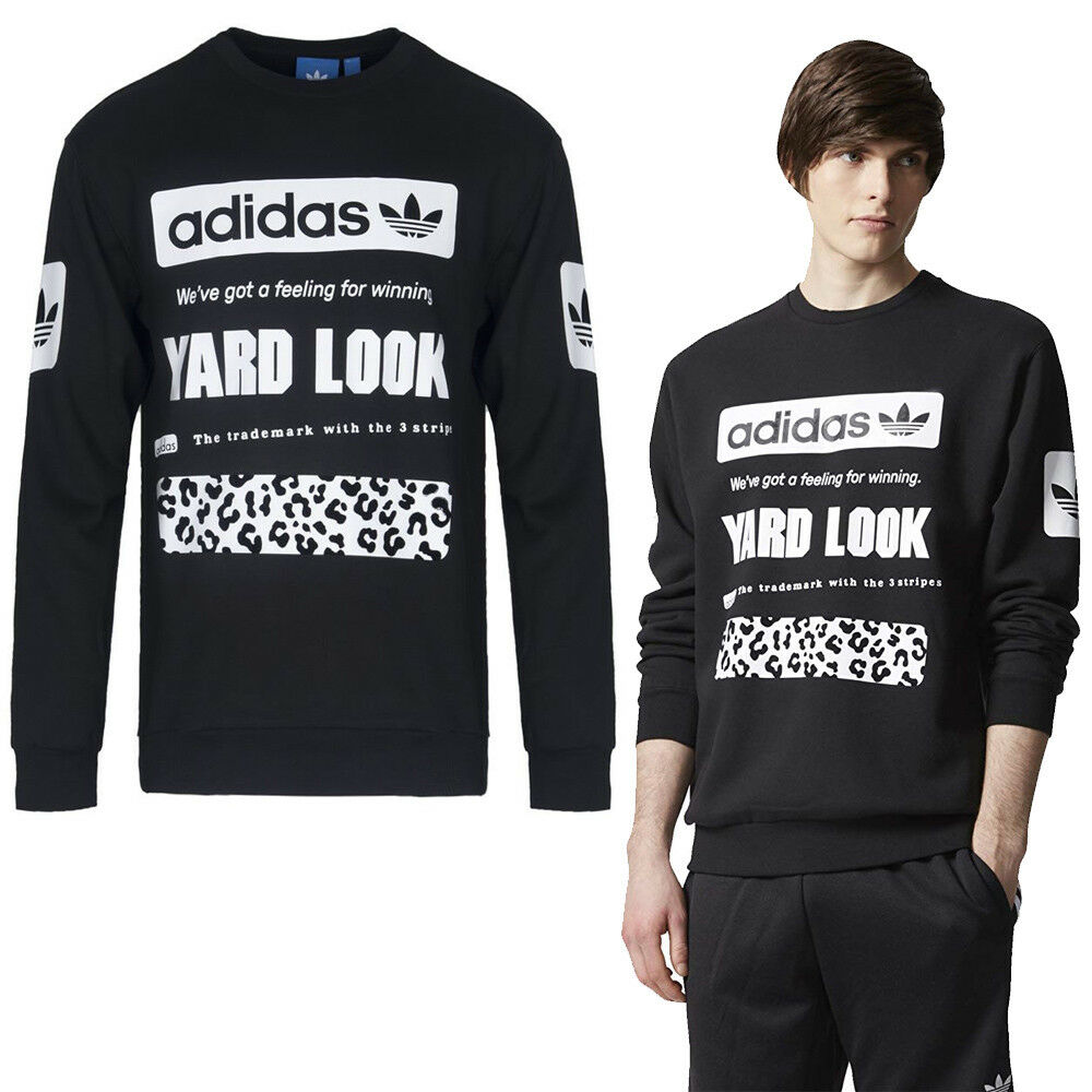 Adidas Originals Mens Graphic Crew Sweatshirt Jumper Sweater New schwarz Sport Top