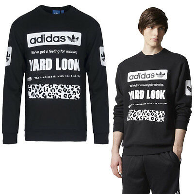 Adidas Originals mens Graphic Crew Sweat Pull Neuf Noir Sport Top   eBay