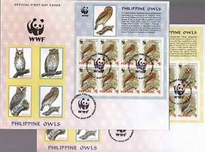 Philippines-2004-WWF-Birds-OWL-4-Different-sheetlet-8-on-4-Large-FDC