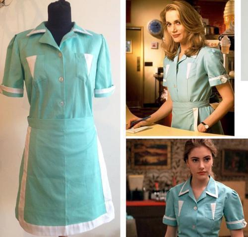 New Twin Peaks cosplay costume Adult Maid dress custom made Waitress Cos#584