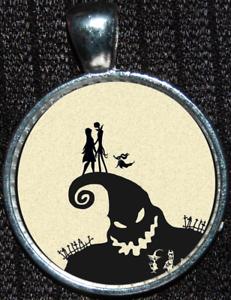 Nightmare before Christmas Jack Skellington Sally Silver Disney Pendant Necklace