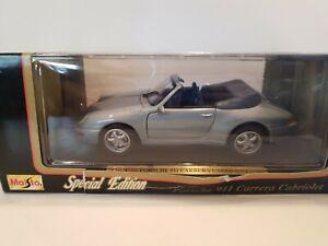 Maisto-1994-Porsche-911-carrera-Edicion-Especial-Cabriolet-Escala-1-18-Plateado