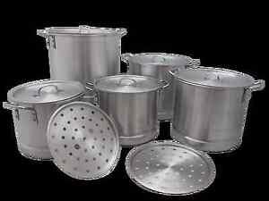 5 Pc Thick Aluminum Stock Pot Set Steam Tamale Brew 20 24