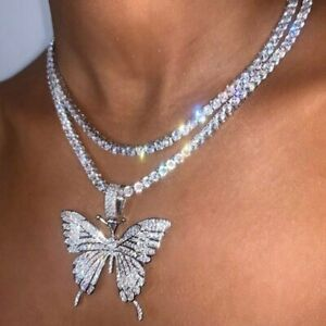 Butterfly Pendant Necklace Rhinestone Chain Women Bling Crystal Choker Gift UK