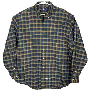 Polo-Ralph-Lauren-Long-Sleeve-Oxford-Shirt-Plaid-Mens-Sz-2XL-Blue-Green-Tan-EUC