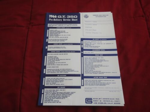 1966 FORD MUSTANG SHELBY GT350 GT-350 COBRA PRE-DELIVERY SERVICE CHECKLIST SHEET