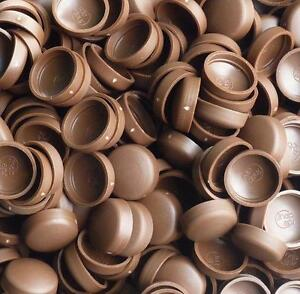 PACK OF 25 x SMALL CHOCOLATE BROWN DOME SCREW COVER CAPS 2 PIECE SNAP ON CAP *