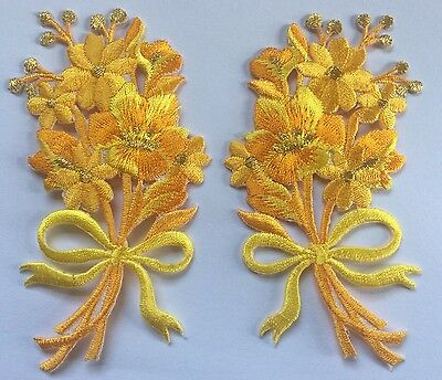 FLOWER PATCH X 2; Yellow/Gold + BOW, matching pair; SEW-ON/IRON-ON *embroidered*