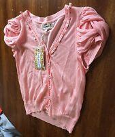 Soft Pink Lulumari Cardigan Sweater Button Up Cap Sleeve Anthropology