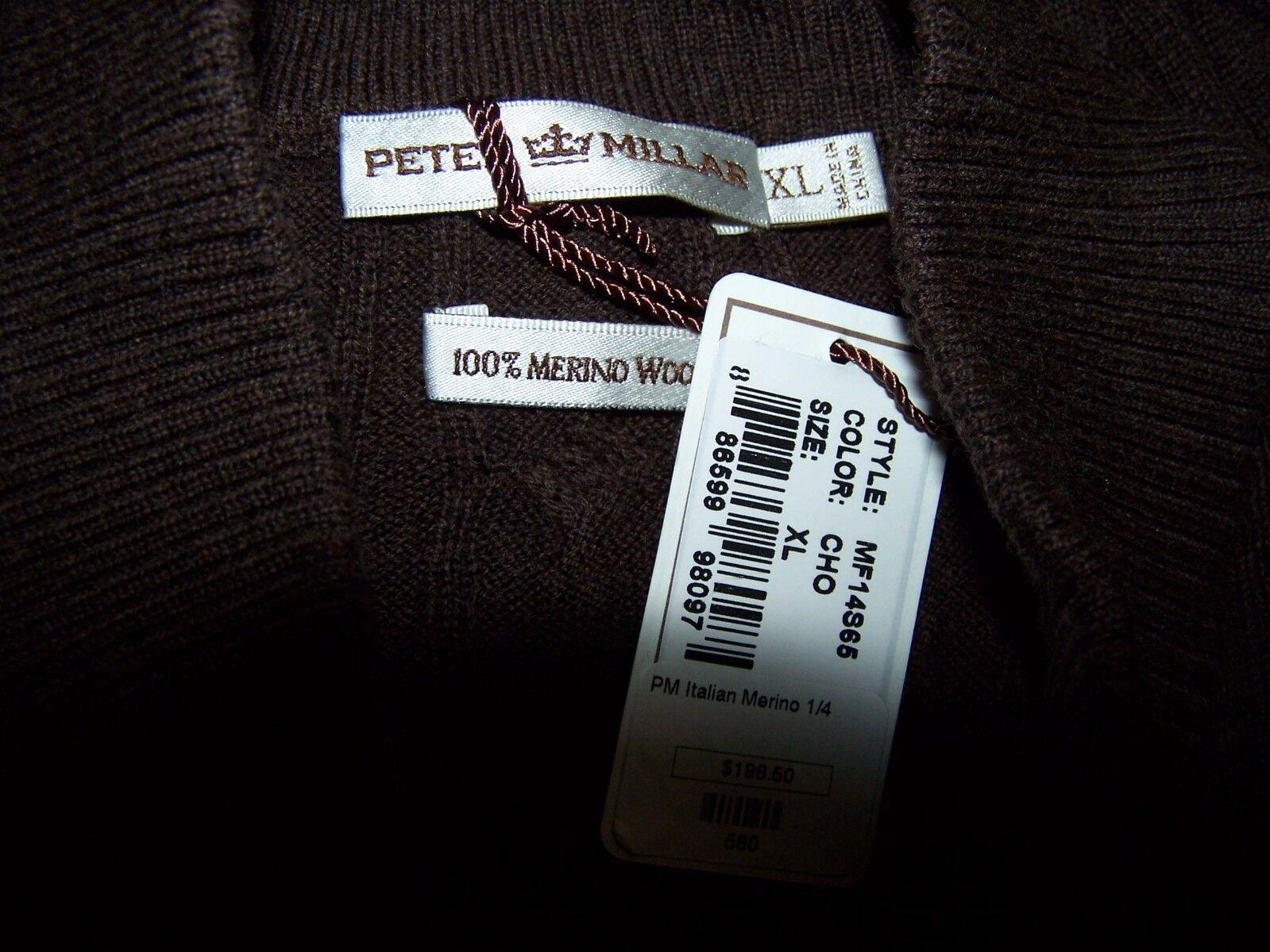 Peter Millar Millar Millar marrone 1/4 Button Sweater Merino Lana Uomo's XL NWT 53b646