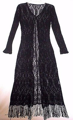 Formula X Fringed Lace Duster Maxi Boho Goth Festival Cosplay Romance Flaws M