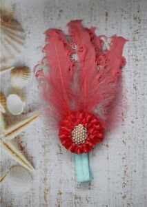 BABY GIRL OVer the Top Feather Headband photo prop *0-12 months