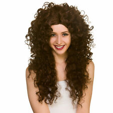 Adult Brown Seduction Wig Long Curly Ladies Fancy Dress Accessory New