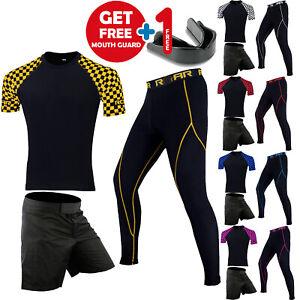 ROAR-MMA-Short-BJJ-Training-Long-Sleeve-Rash-Guard-Grappling-Compression-Legging