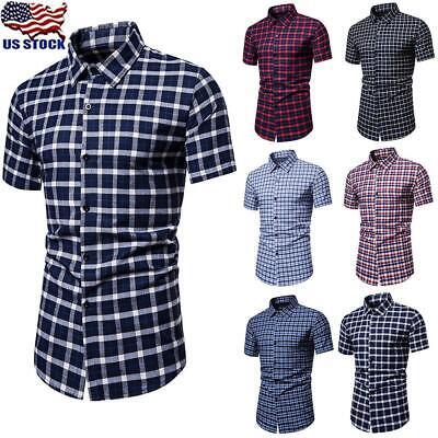 Mens Check T-Shirt Short Sleeve Blouse Summer Casual Slim Fit Plaid Tops S-2XL