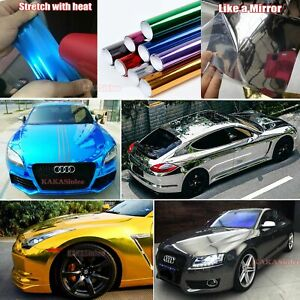 Bubbles-Free-Car-Flat-Glossy-Bright-Mirror-Chrome-Vinyl-Wrap-Film-Sticker-CFUS
