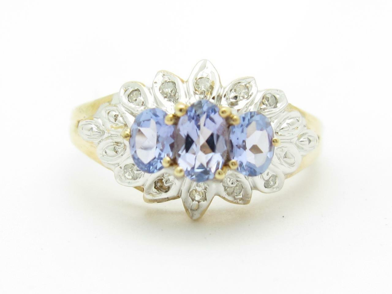 14k Solido oro Giallo Giallo Giallo Tanzanite & Diamante 3 Pietra Vintage Fede di Design 5866c7