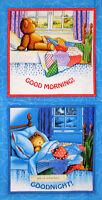 Timeless Treasures Corduroy Bear Goodnight Good Morning Bear Cotton Fabric Panel