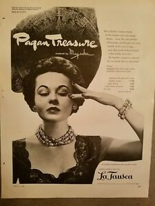 1952 La Tausca Pagan treasure necklace  bracelet Aztec Collection jewelry ad