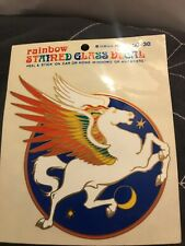 Stained Glass Decal Palm Tree Ocean Rainbow Window Sticker Car Home Vintage 1980