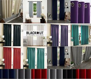 Tie Backs Luxury Pair Thermal Blackout Lined Eyelet or Pencil Pleat Curtains