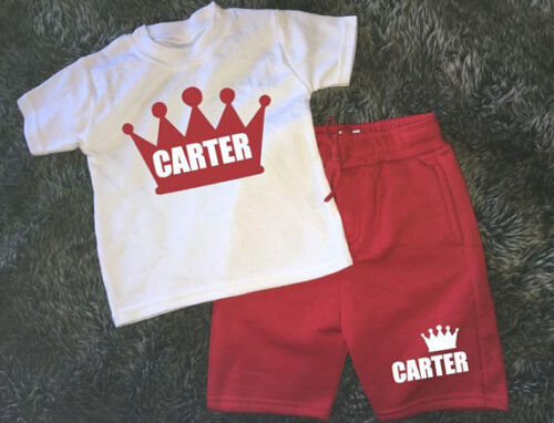 Personalised Prince Princess crown print your name kids shorts and t-shirt set