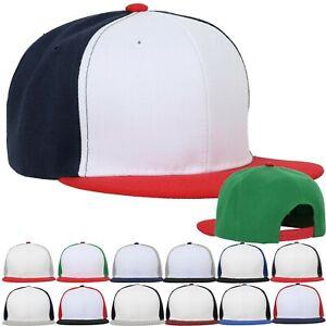 Mens-Snapback-Baseball-Cap-Plain-Blank-Snap-Back-Hat-Three-Tone-Casual-Basic