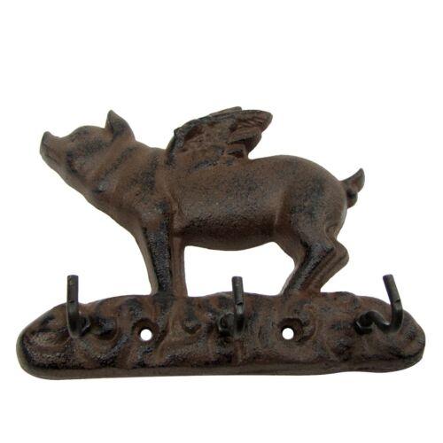 Metal Wall Mount Flying Pig w// Wings 3 Hooks Key Ring Holder//Coat Rack//Hat Hook