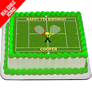Tennis Court Cake Topper Edible Icing Image Personalised Birthday