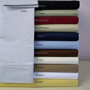 100% Egyptian Cotton Fitted Sheet Set 3 Pcs 1000 TC Full Size Made in India