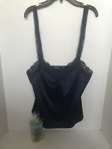 Vintage-Vanity-Fair-camisole-Size-36-Navy-Blue-Nylon-w-Lace-Made-In-USA
