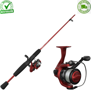 Slingshot Spinning Reel And Fishing Rod Combo, 5-Foot 6-in 2-Piece Rod, Red Cool