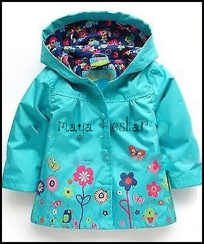 BABY GIRL RAIN MAC COAT SPRING SUMMER JACKET with HOOD WINDBREAKER FLOWER 18M-5Y