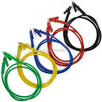 5pcs 3ft 1M high current  53mm Alligator Test Probe Clamp Clip Cable 5 Colors