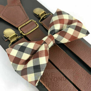 Wide-Brown-Leather-Vintage-Elastic-Adjustable-Clips-on-Suspender-Bowtie-Combo