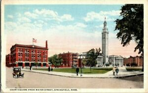 1918-SPRINGFIELD-MASS-COURT-SQUARE-FROM-WATER-STREET-POSTCARD-EE9