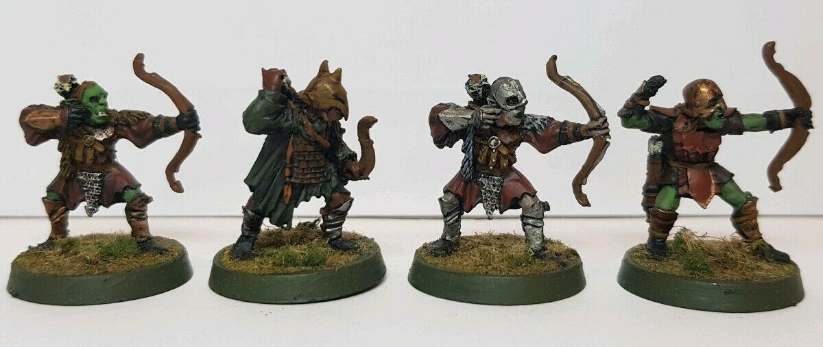 Lord of the Rings 2nd Age Mordor Orc Bowmen x 4 well painted metal models LOTR